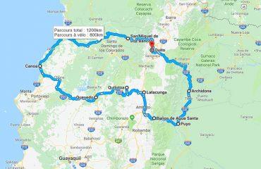 Itinéraire circuit vélo Equateur